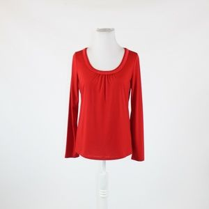 Red TALBOTS scoop neck blouse S